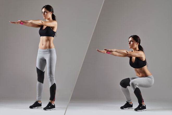 Richtige Kniebeuge - Start und Endposition
